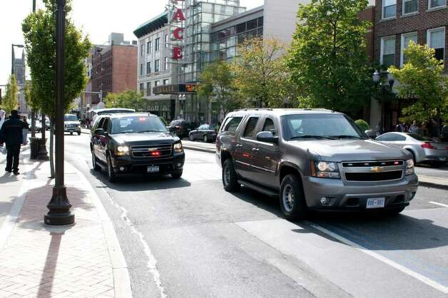 First Lady Michelle Obama's motorcade leaves Stamford after she appeared with Connecticut Attorney General Richard Blumenthal, the Democratic candidate for U.S. Senate, at a campaign event at the Palace Theatre in Stamford, Conn. on Monday, Oct. 18, 2010. Photo: Dru Nadler, ST / Stamford Advocate Freelance