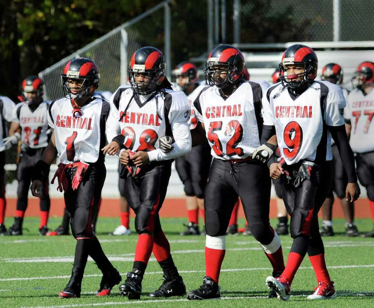 Bridgeport Central captains, left to right, Shabashe McIntosh, David Campbell, Adrian Simpson and David Rhoden, during the start of the Greenwich High School football vs. Bridgeport Central High School football, at Greenwich High School, Saturday afternoon, Oct. 23, 2010.