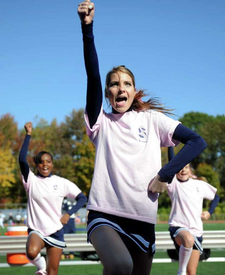 during Saturday's game against Harding High School in Westport on October 23, 2010. Photo: Lindsay Niegelberg / Connecticut Post