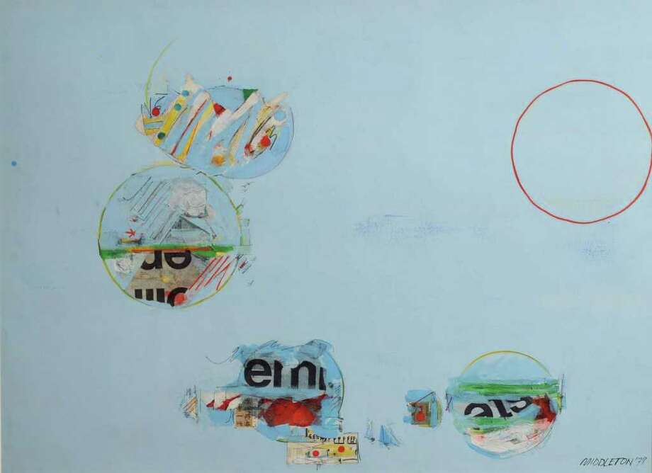 """Sam Middleton, """"Fishing,"""" 1978, mixed media/board, 30.5 by  42 inches (Courtesy Opalka Gallery)"""