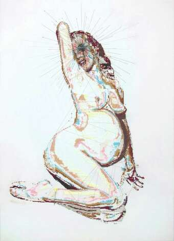 "Alicia Ross, ""Untitled (Expecting Marilyn),"" 2008, cross-stitch on cotton, 23? x 32?, courtesy of the artist and Black & White Gallery, Brooklyn, NY Photo: Alicia Ross / www.aliciaross.com"