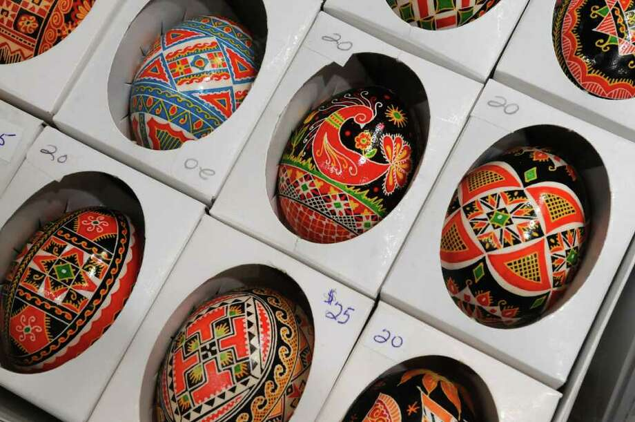 These hand-painted eggs, pysanky, were painted in the Ukraine, and were for sale by the Ukrainian National Women's League of America, Branch 99 of Watervliet, during the 39th annual Festival of Nations at the Empire State Plaza Convention Center in Albany on Sunday October 24, 2010. The eggs are real, with their contents removed. ( Philip Kamrass / Times Union ) Photo: Philip Kamrass