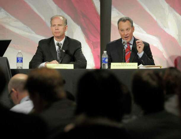 State attorney general candidates Dan Donovan, left, and Eric Schneiderman take part in a debate Monday at the WAMC Linda Norris Auditorium in Albany. (Paul Buckowski / Times Union) Photo: Paul Buckowski