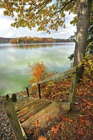 Stairs lead to the water on Cossayuna Lake in Cossayuna, NY on October 26, 2010.  (Lori Van Buren / Times Union) Photo: Lori Van Buren