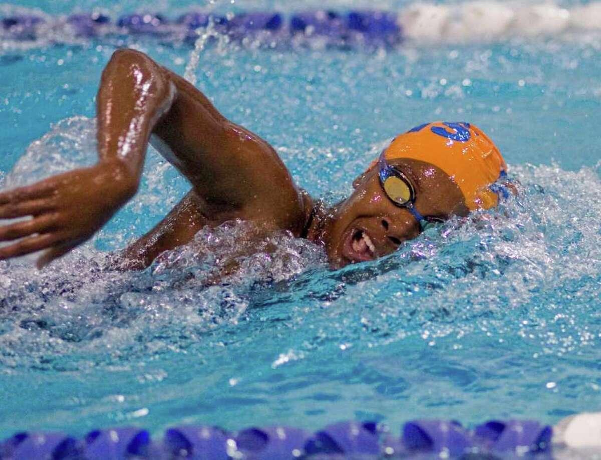 Danbury's Nadine Edwards swimming the 200 freestyle against St. Joseph, at Danbury. Tuesday, Oct. 26, 2010