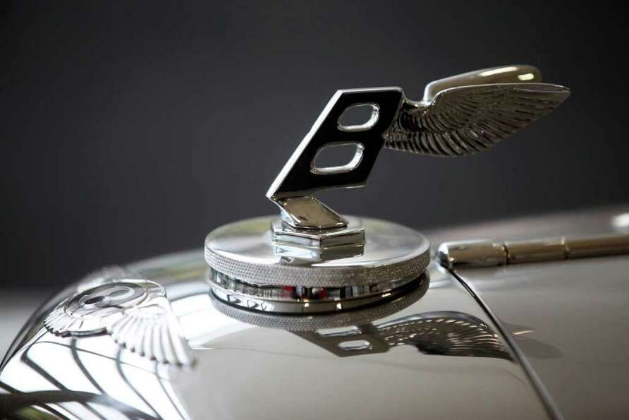 LONDON, ENGLAND - OCTOBER 27:  A detail view of a 1938 Bentley 4 1/4 Litre Cabriolet, which is up fo