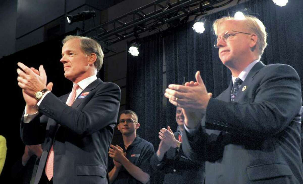 Tom Foley, left and Danbury Mayor Mark Boughton, addresse the Republican State Convention Saturday night after accepting the party's nomination for Governor and Lt. Gov. The Republicans ended a two day convention at the Hartford Convention Center Saturday night at the Hartford Civic Center.