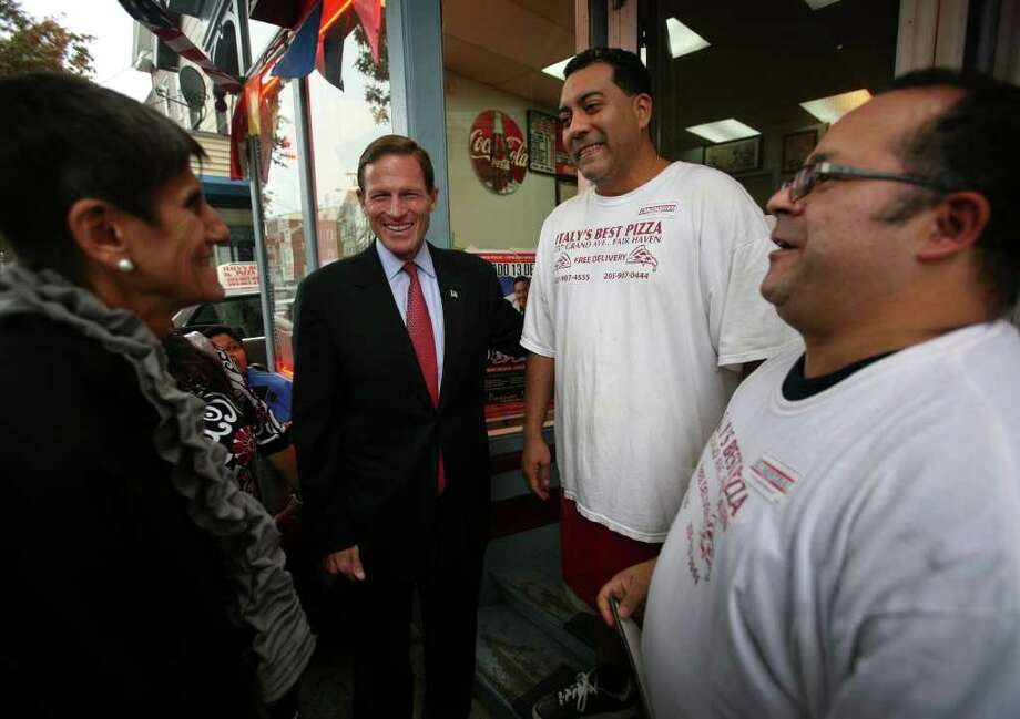 Nearing races end blumenthal hopes he has defined himself for good from left rep rosa delauro and democratic senate candidate richard blumenthal talk with carlos m4hsunfo