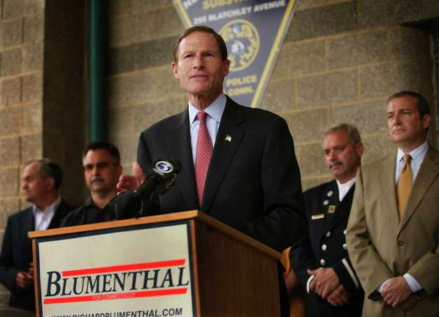 Senate candidate and Attorney General Richard Blumenthal accepts the endorsement of police and fire unions at the  police substation on Blatchley Avenue in New Haven on Tuesday, October 26, 2010. Photo: Brian A. Pounds / Connecticut Post