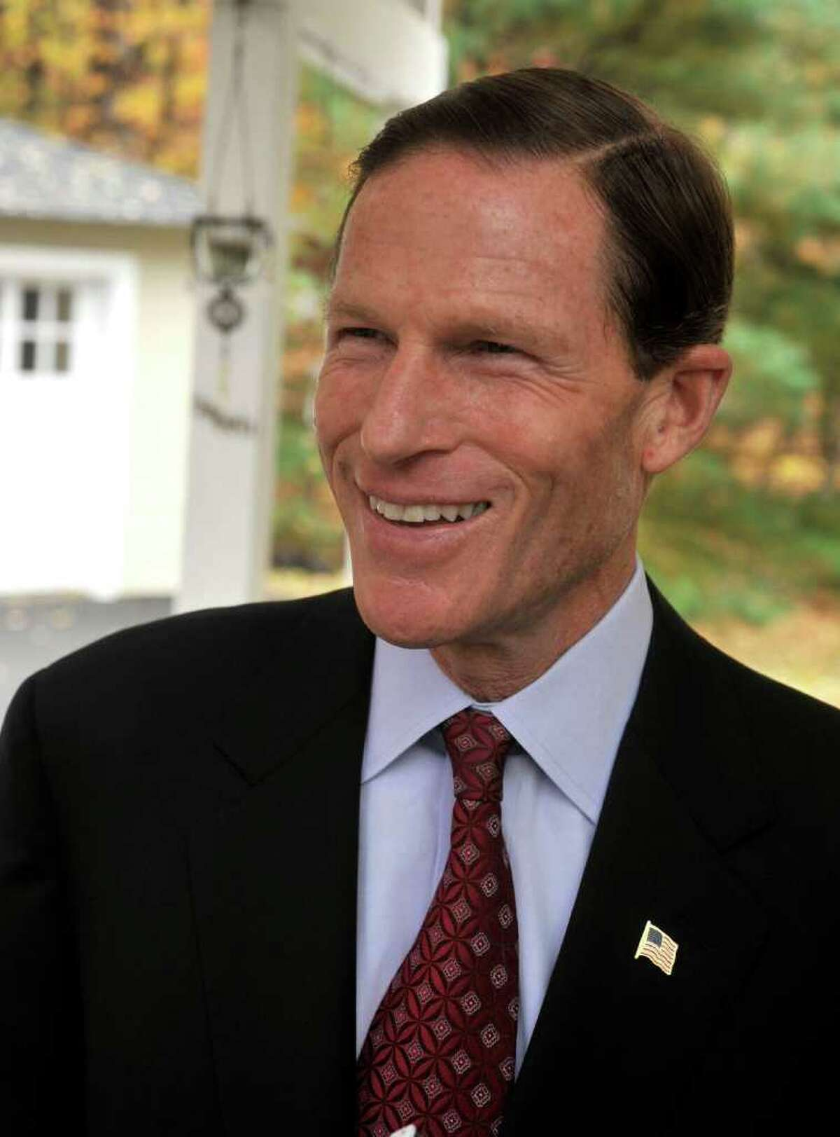 State Attorney General Richard Blumenthal, who is running for U.S. Senate, talks during a visit to the Danbury home of Julie Kushner and Larry Morgan, Wednesday, Oct. 27, 2010.