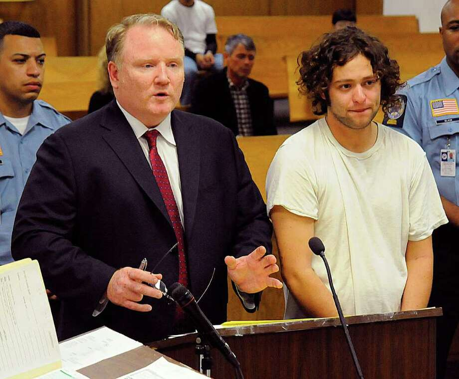 Defense attorney Stephen Seeger (left) with Dominick Sciarretta during a court appearance in state Superior Court in Norwalk on Wednesday, Oct. 27, 2010. Photo: Contributed Photo / Stamford Advocate Contributed