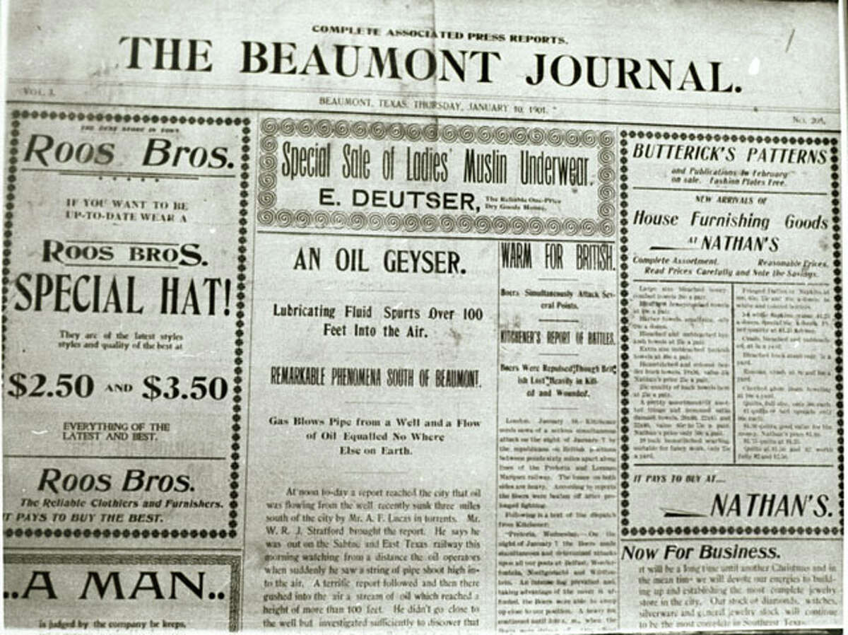Page One of the Beaumont Journal on January 10, 1901 announcing the gusher of oil at Spindletop. Enterprise file photo