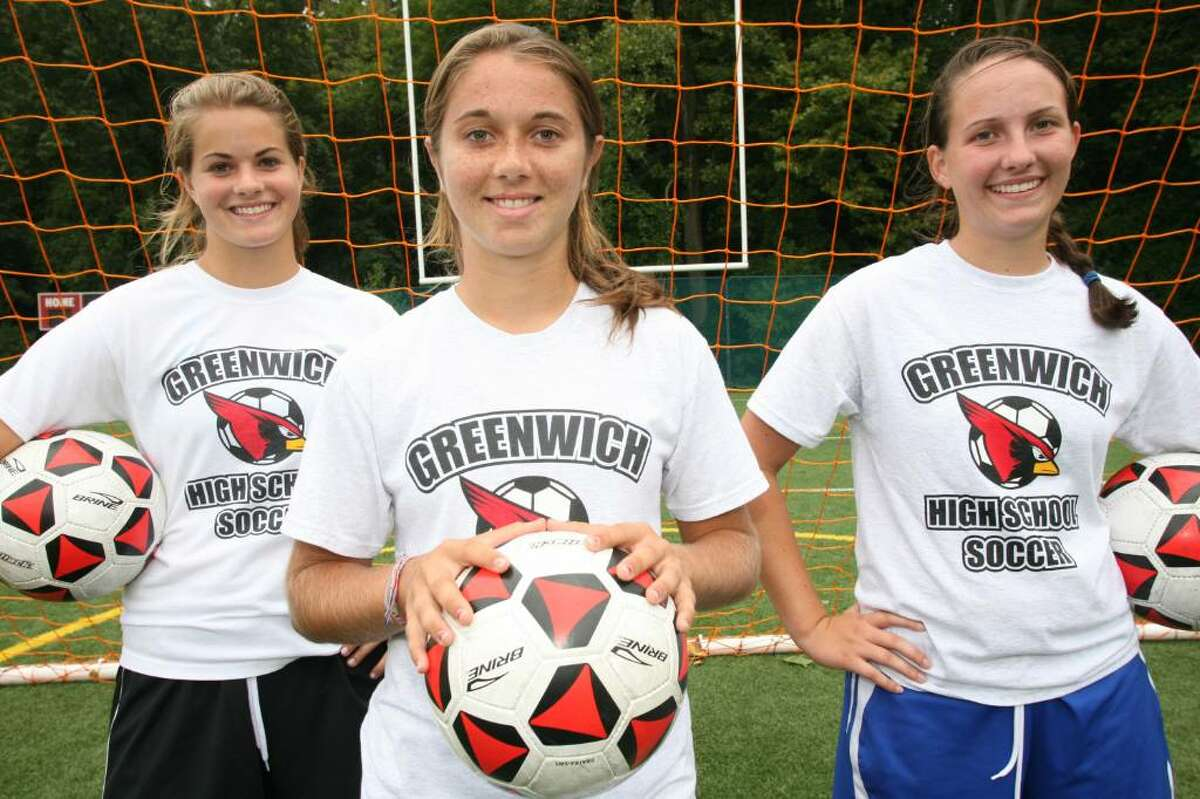 2009 Greenwich High School girls soccer captains Elizabeth Niehaus, Kelsey Shea, and Courtney Callahan.