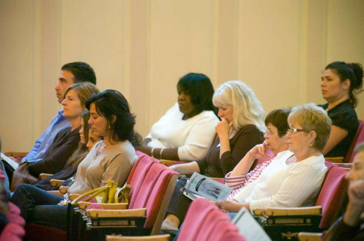 """Audience members during the """"9-11 Remembrance"""" ceremony at Norwalk City Hall on Friday, Sept 11, 2009."""
