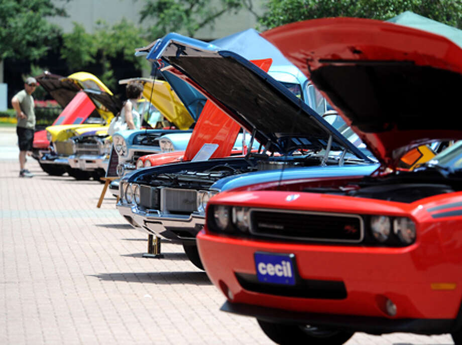 A wide variety of classic and custom cars are on display during the Bringin' Back Memories Car Show at Crockett Street in Beaumont. Proceeds are designated to benefit the Humane Society of Southeast Texas and Meals on Wheels. Tammy McKinley/The Enterprise / Beaumont