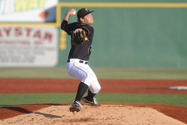 Vidor pitcher and Lamar signee Trae Hester throws against Crosby during their playoff matchup  on Wednesday at Lamar's Vincent-Beck Stadium.  Valentino Mauricio/The Enterprise / Beaumont