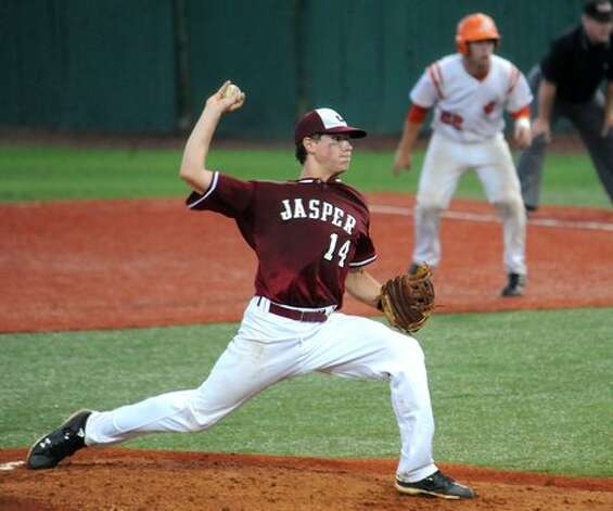 Orangefield's Chase Angelle pitches against Jasper at Lamar University in Beaumont, Thursday. Tammy McKinley/The Enterprise / Beaumont