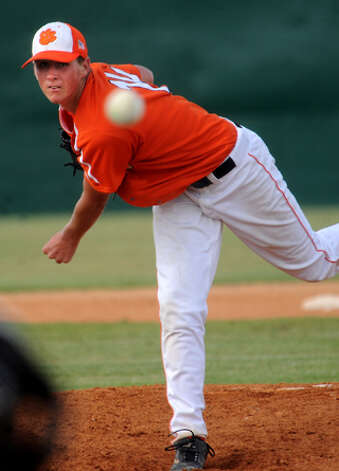Orangefield's Chase Angelle pitches agianst West Orange-Stark during the second game of the Regional Quaterfinals playoffs at West Brook in Beaumont, Saturday. Tammy McKinley/ The Enterprise / Beaumont