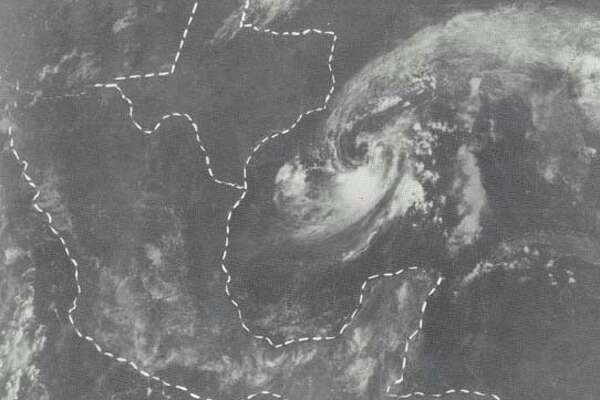 Hurricane Babe is shown in this satellite photo developing in the Gulf of Mexico Sept. 4., 1977. Though the center of the storm was only about 225 miles southeast of Beaumont, the skies over the Golden Triangle were clear at the time.
