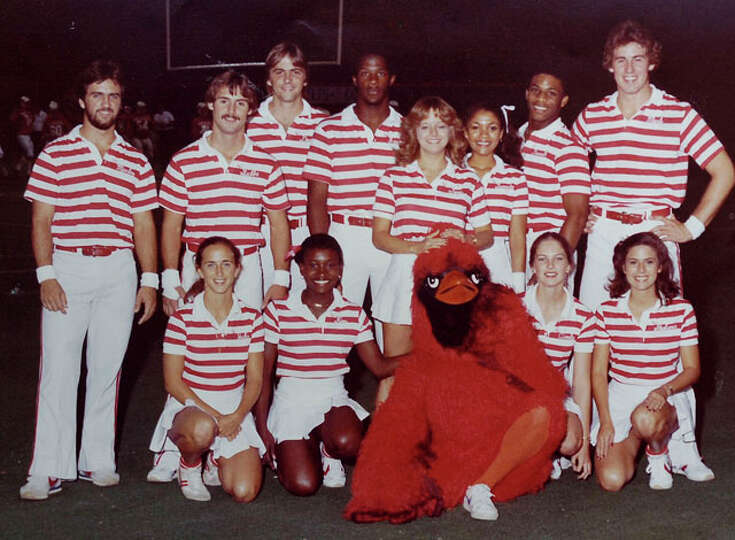 The Lamar cheerleading team with mascot Big Red from the 1981 football season. Photo provided by Jul