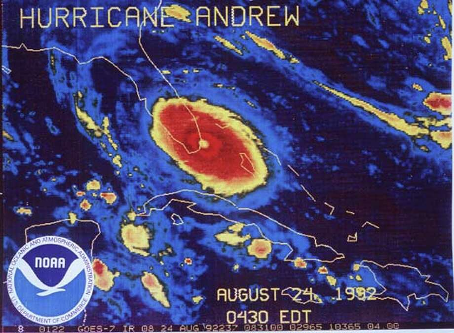 This is a GOES-7 thermal infrared geostationary satellite image of hurricane Andrew approaching landfall south of Miami, Florida. (AP-Photo/HO)