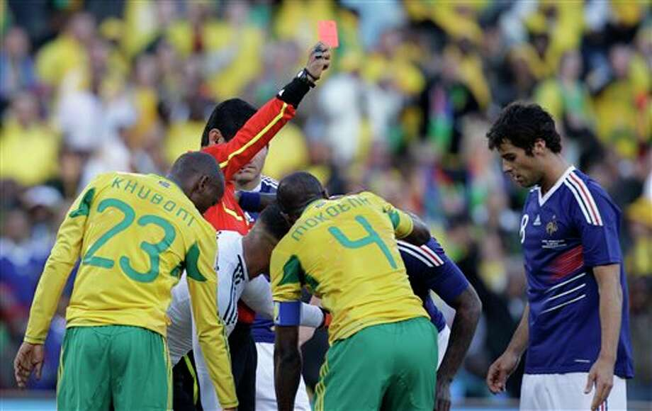Player: Yoann GourcuffGame: France vs. South AfricaOffense: Elbowed South African footballer in the face