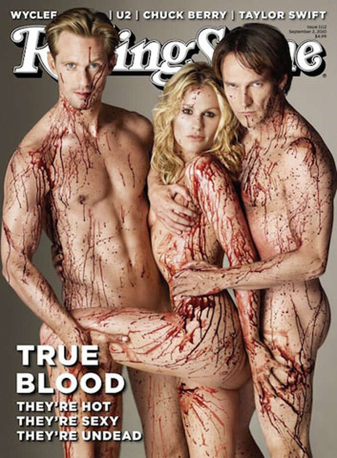 "For all of you ""True Blood"" fanatics, you know the relevance of this naked and bloody picture of the show's actors Alexander Skarsgard, Anna Paquin and Stephen Moyer. Obviously, there's blood because the show is about vampires and they're naked because ? well ? there's a lot of sex on the show. What better way to promote the show than to combine both?"
