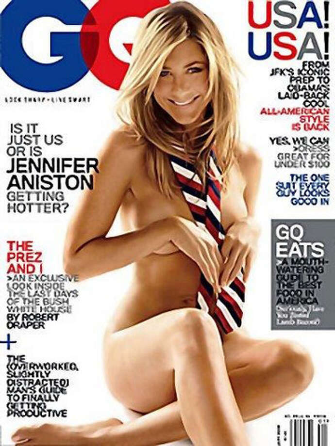 Jennifer Aniston appeared naked on the cover of GQ a couple of times. This particular time she wasn't completely naked. She was wearing a tie.