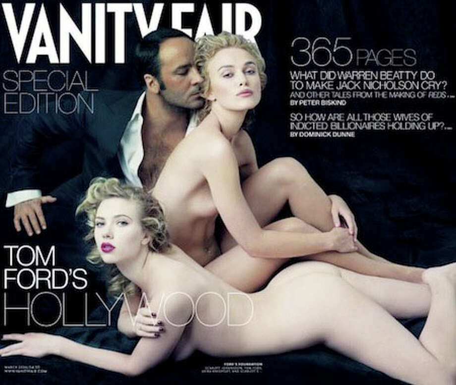 Tom Ford and homegirls Scarlett Johansson and Keira Knightley went bare for this 2007 cover of Vanity Fair. Actually Ford stayed dressed. Wonder what that's all about?