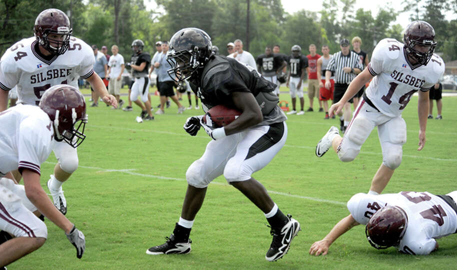 Kirbyville's LaFrederick Ford plays in a scrimmage against Silsbee at Kirbyville High School, Saturd