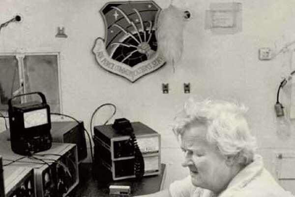 Mikie Lee readies her ham radio to relay emergency messages should Hurricane Anita cause a breakdown in normal communciations.