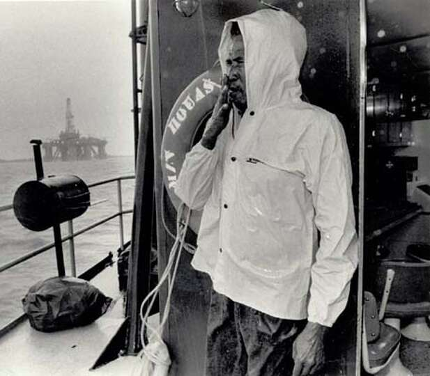 Charles Stamps, deckhand on an offshore rig, watched Hurricane Juan blow into Sabine Pass on Monday.