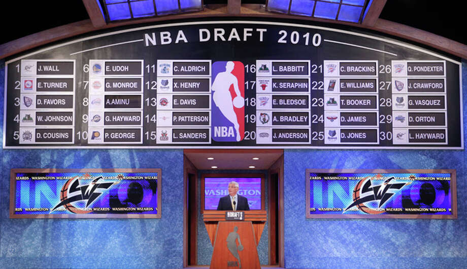 NBA commissioner David Stern announces the final pick in the first round of the NBA basketball draft Thursday, June 24, 2010 in New York. The Washington Wizards selected Lazar Hayward of Marquette. (AP Photo/Jason DeCrow)