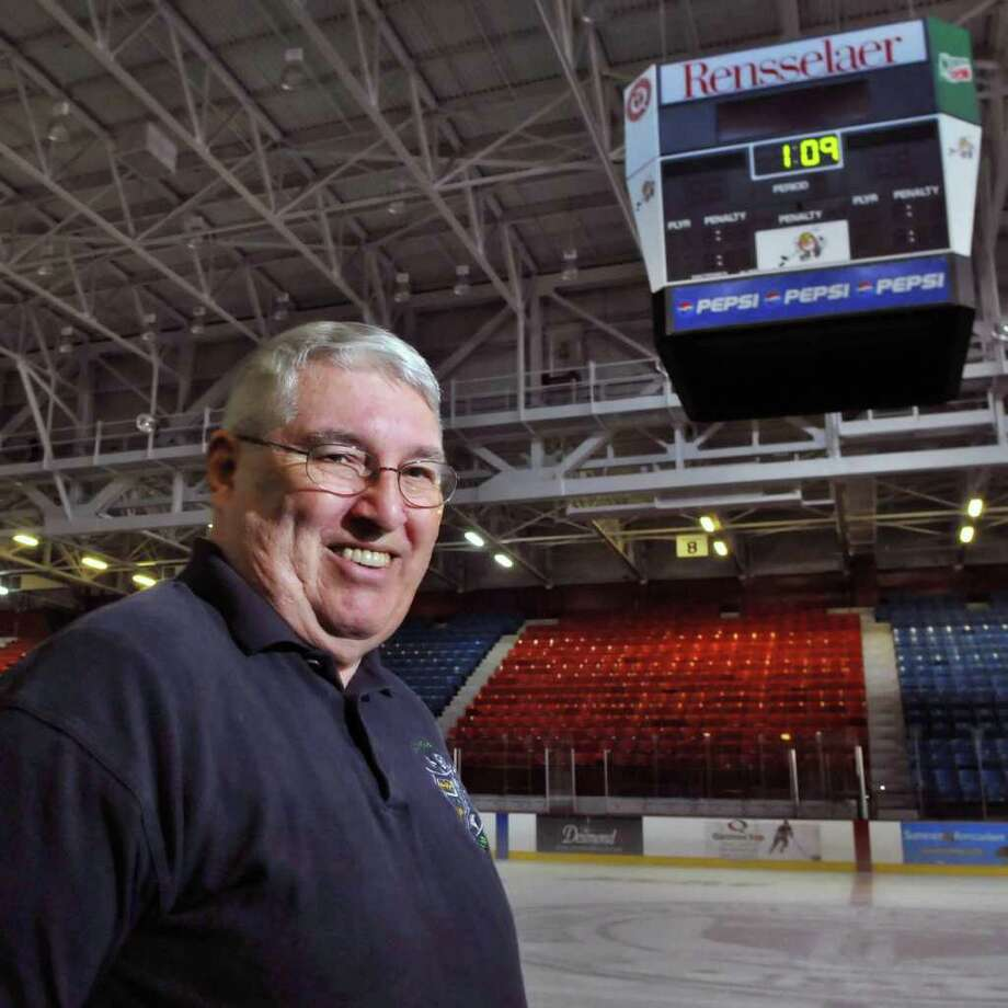 Richard Boland, a part-time worker at  Houston Field House on the RPI campus in Troy, has been a familiar face at Engineers hockey games since December 1960. (John Carl D'Annibale / Times Union) Photo: John Carl D'Annibale / 00010781A