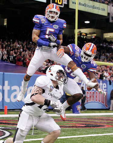 7. Cleveland - CB Joe Haden - Florida's Joe Haden (5) and Dustin Doe (32) react after Haden broke up a pass to Cincinnati's Ben Guidugli (19) in the first half of the Sugar Bowl NCAA college football game in New Orleans, Friday, Jan. 1, 2010.  (AP Photo/Patrick Semansky) / FR158704 AP