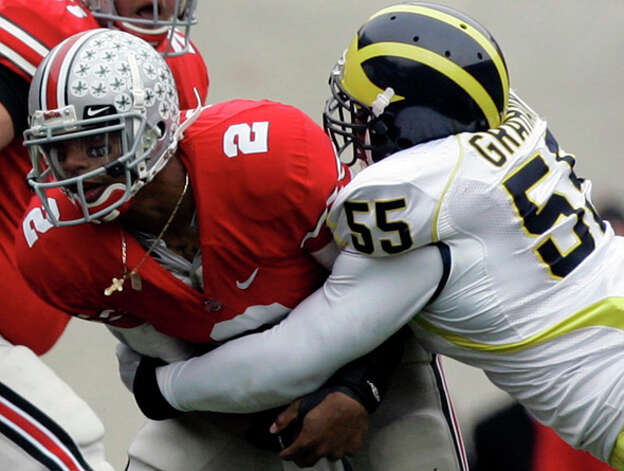 13. Philadelphia Eagles - DE Brandon Graham - Ohio State quarterback Terrelle Pryor (2) gets sacked by Michigan defensive end Brandon Graham (55) during the first quarter of an NCAA college football game in Columbus, Ohio. / AP2008