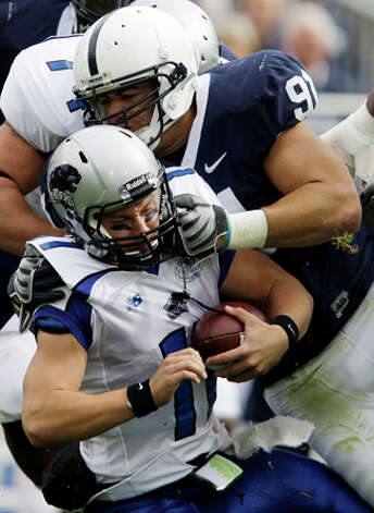 28. Miami Dolphins - DT Jared Odrick - Eastern Illinois quarterback Jake Christensen (11) is sacked by Penn State Jared Odrick (91) in State College, Pa. / 2009 AP