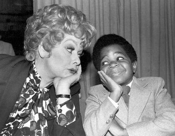 """In this Nov. 19, 1979 file photo, comedian-actress Lucille Ball, left, poses with actor Gary Coleman during a break in filming """"The Lucille Ball Special"""" in Hollywood. (AP Photo)"""