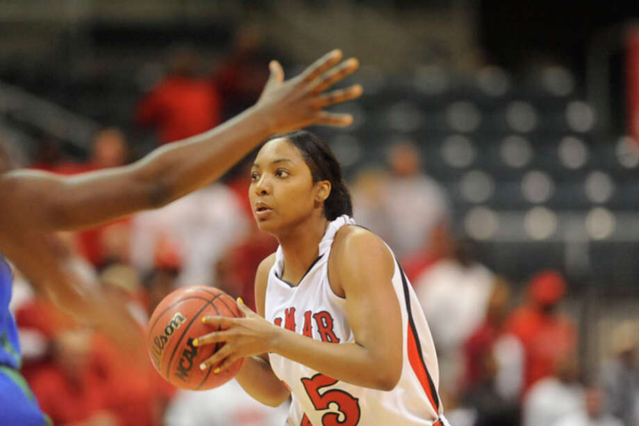 Lamar forward Trashanna Smith looks to pass against Texas A&M Corpus Christi during the Southland Conference Tournament Championship game at the Merrell Center in Katy.  Friday, March 12, 2010. Valentino Mauricio/The Enterprise