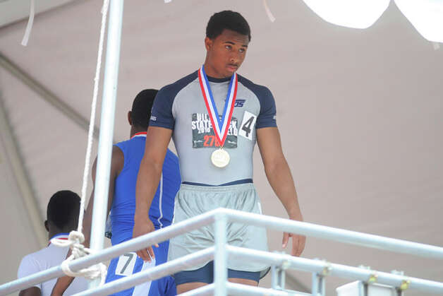 West Orange-Stark's Trey Franks at the medal stand after receiving the gold medal in the boys 3A 100 meter dash with a winning time of 10.62 at the UIL State Track and Field Championships in Austin on Saturday. May 15, 2010. Valentino Mauricio/The Enterprise