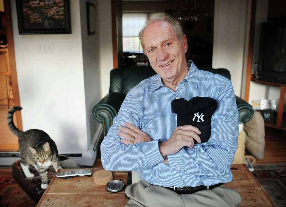 Phil Linz, former teammate of Mickey Mantle, at his home with the family's cat