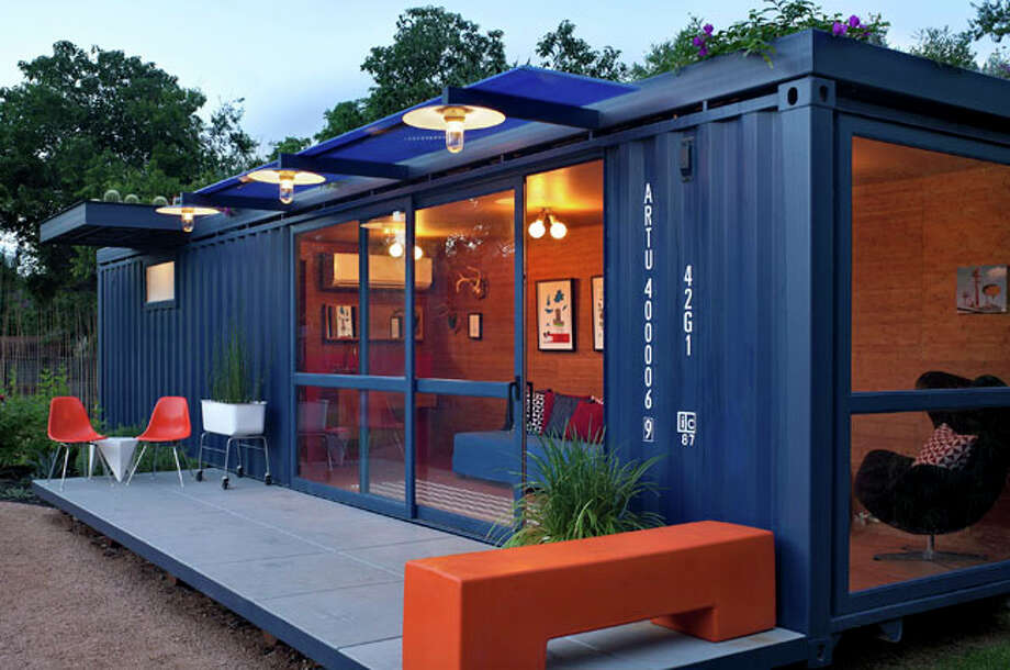 Stacey Hill?s guesthouse is made from an 8-foot by 40-foot steel shipping container, the kind used to transport products across the ocean. With the help of architect Jim Poteet, Hill repurposed the $6,000 container into an energy-efficient living space. / © 2010 Chris Cooper all rights reserved