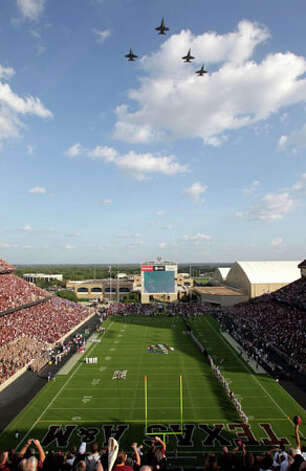 Fighter jets do a fly over Kyle Field before the start of Texas A&M's 48-16 victory over Louisiana Tech on Sept. 11. / © 2010 Houston Chronicle