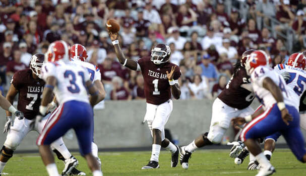 Texas A&M quarterback Jerrod Johnson throws a pass against Louisiana Tech in the second quarter on Sept. 11. The senior has completed 67.9 percent of his passes (53 of 78) for 671 yards and six TDs with no interceptions through two games.