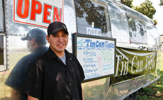 Tin Can Tacos Who: Manny Olivarez is upping the ante when it comes to taco trucks. One of the first food trucks to hit the road, the '68 Airstream is home to jazzed-up classics.Where: Olivarez and Tin Can are taking a break from the road while he and Neil Hajji of Wheelie Gourmet nurture their brick-and-mortar project, Counter Culture Café.Follow: Tin Can Tacos on Facebook, @tincantacos on Twitter; 210-913-6758, tincantacos.comMenu: Tin Can offers carnitas, lamb, beef, chicken fajita and chipotle chicken mini tacos, a Trashcan burrito and pork, lamb, beef or chicken tortas.Payment: Cash only / Prime Time Newspapers 2010