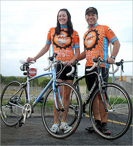 Jeff Vaughn and wife Jaime ride in support of Jaime's mom, who has MS.