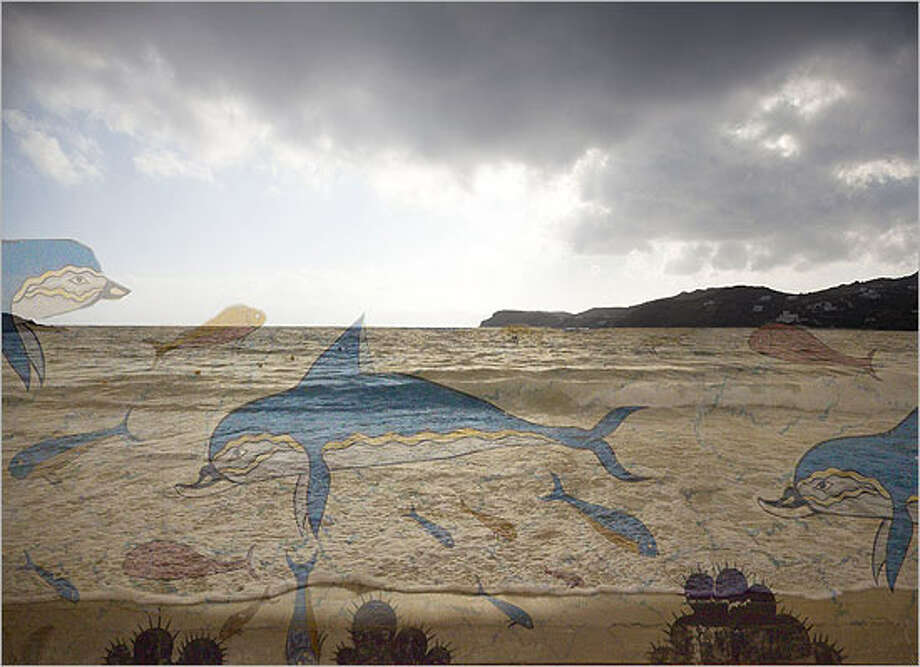 """San Antonio photographer Trish Simonite's Dolphin Sea, featuring superimposed spectral images, is part of """"The Akrotiri Project"""" at Trinity University."""