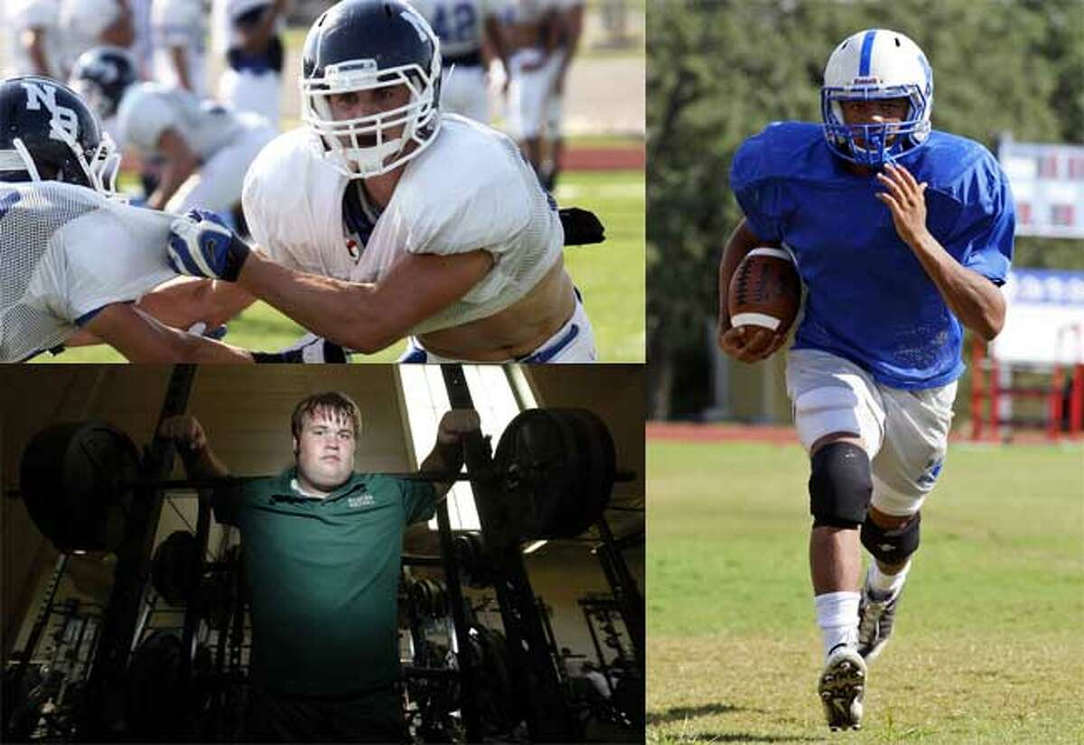 New Braunfels' Charles Wort (top), Reagan's Hunter Nealy (bottom) and MacArthur's Darik Dillard all follow older brothers who left a mark on area football.