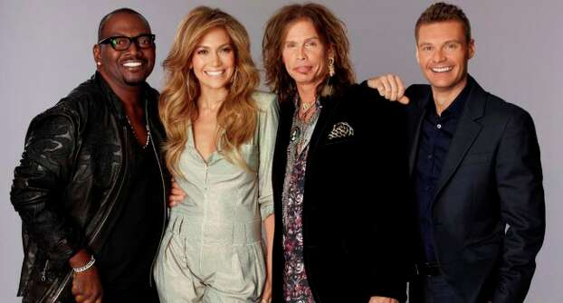 Judges for season 10 of American Idol are (from left) Randy Jackson, Jennifer Lopez and Steven Tyler. The host is Ryan Seacrest.