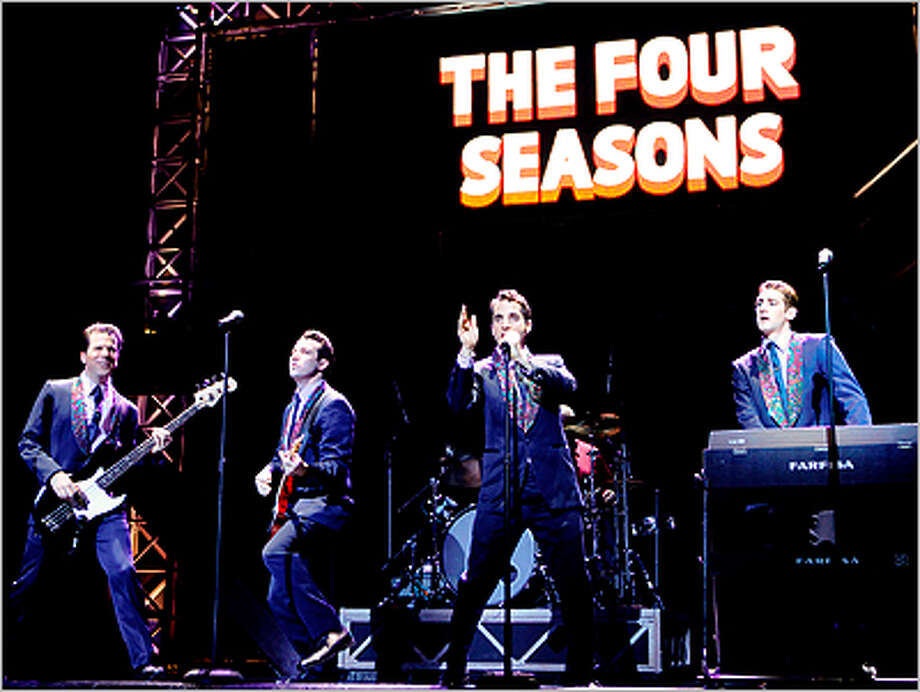 "The Four Seasons perform in a scene from the touring production of ""Jersey Boys."""